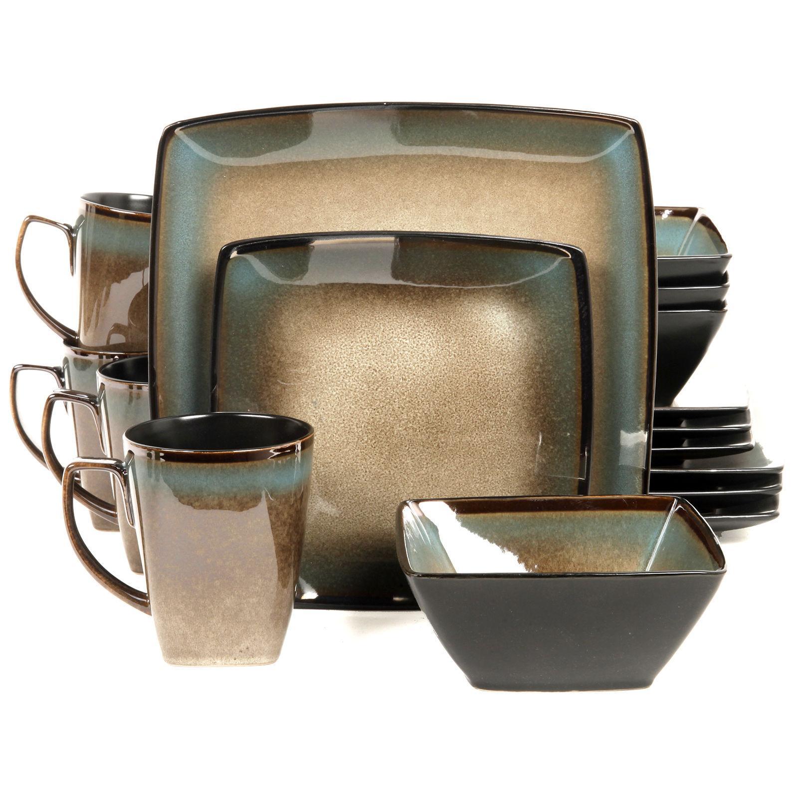 Gibson Taupe Tequesta 16pc Square Glazed Stoneware Dinnerwar
