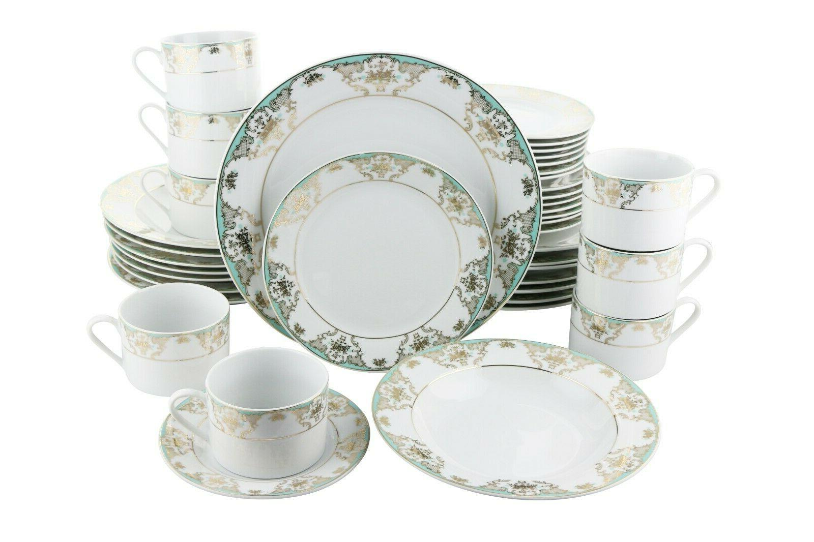 Teal and Gold 40 Piece Dinning set Serving Service for 8