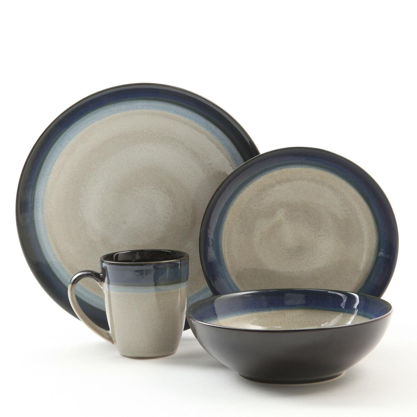 terra bella blue 16 piece dinnerware set