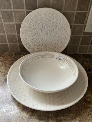 textured neutrals linen 12 piece dinnerware set