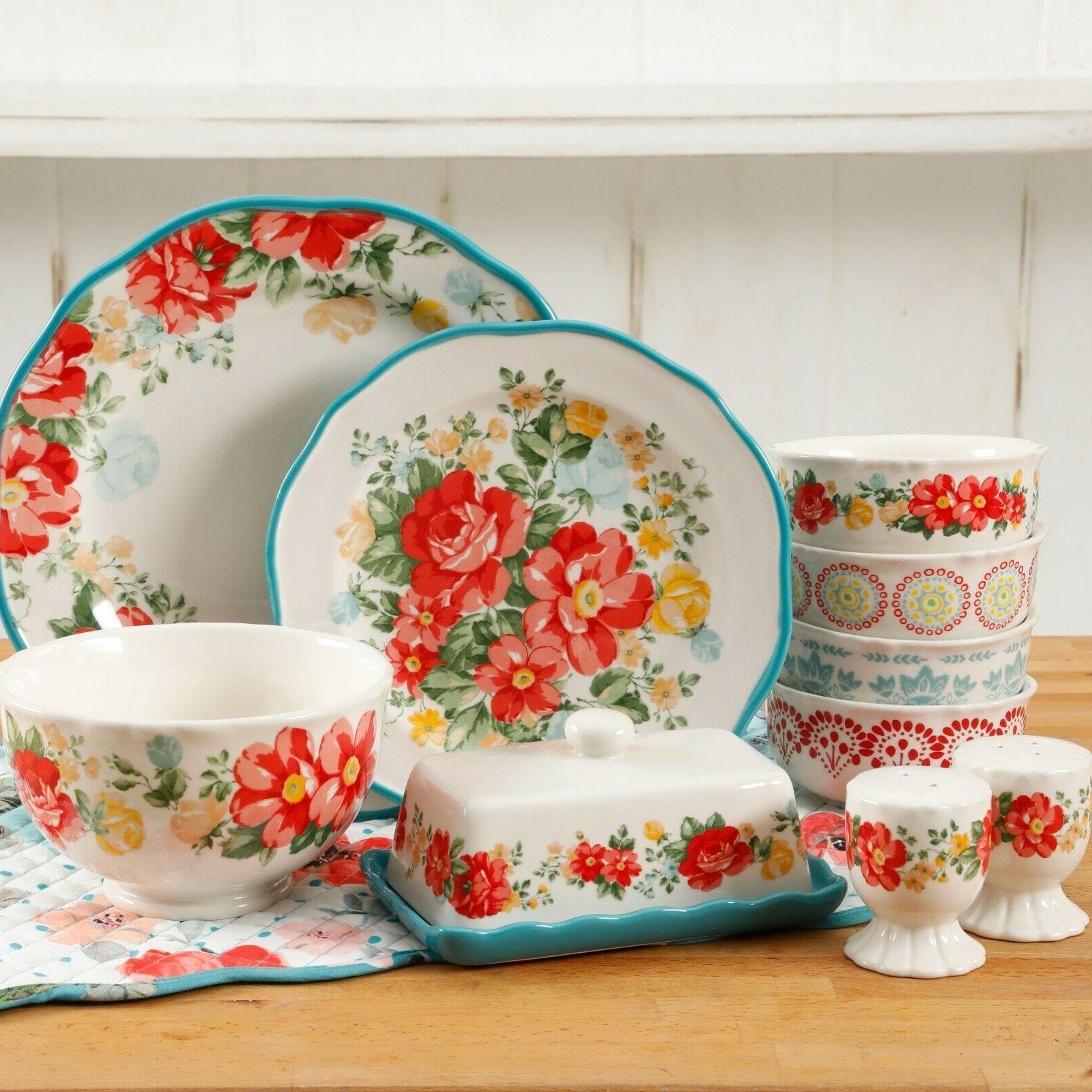 Elegant Dinnerware Set Plates Ceramic Vintage Floral Pioneer