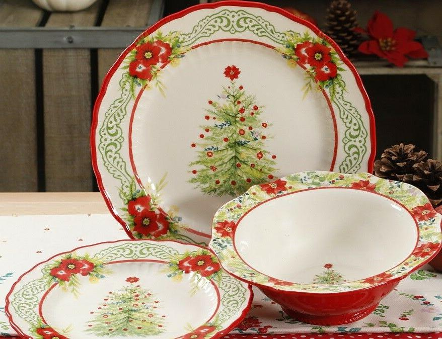the christmas tree 12 piece dinnerware set