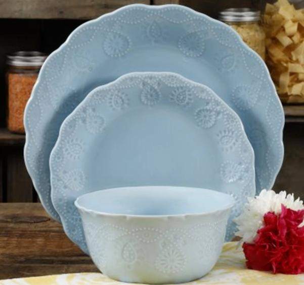 the woman lace 12 piece blue dinnerware