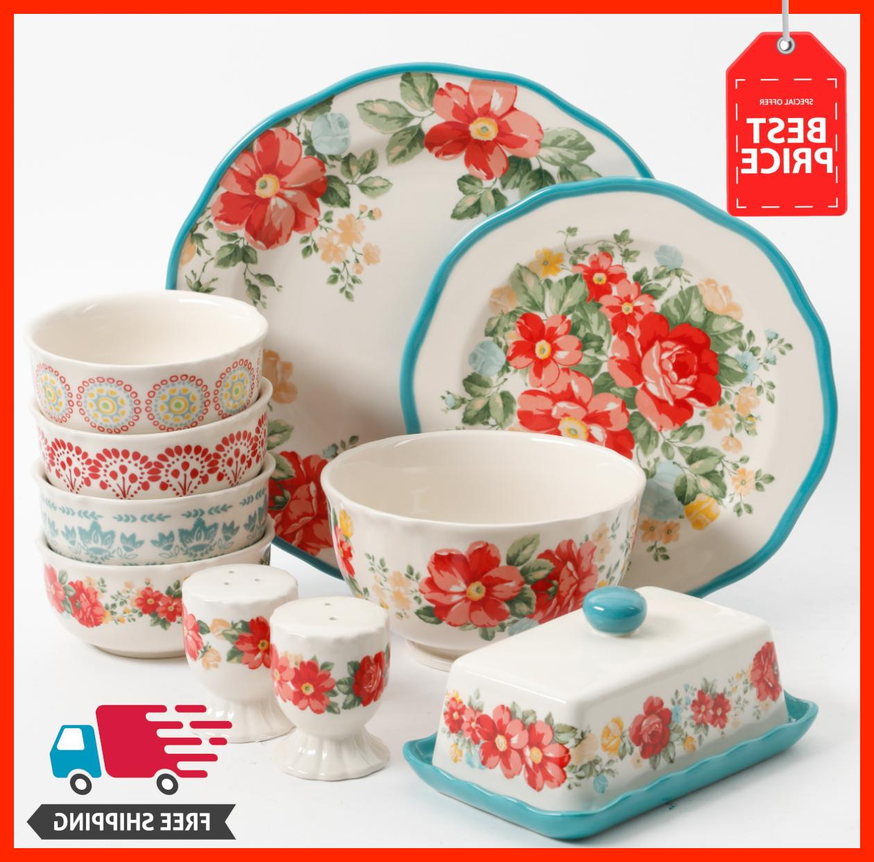 the woman vintage ruffle floral dinnerware set