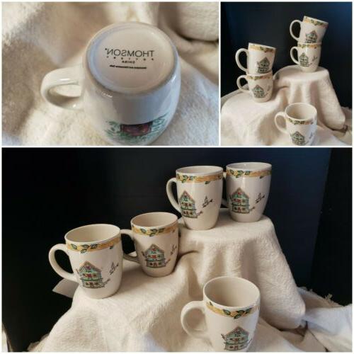 thompson pottery set of 5 birdhouse tea