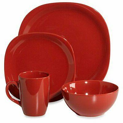 thomson quadro red dinnerware set