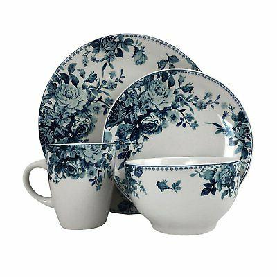 ELAMA BLUE ROSE 16 PIECE DINNERWARE SET 4