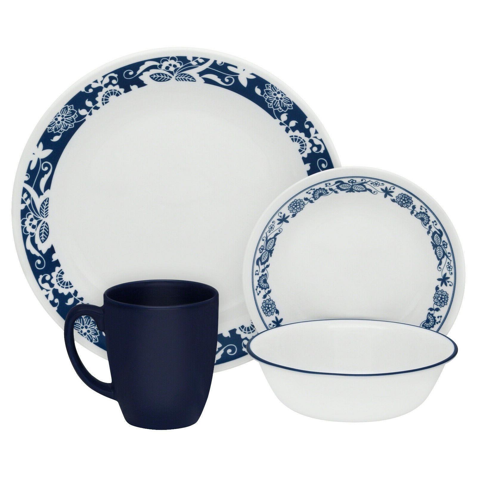 true blue 16 piece dinnerware set chip