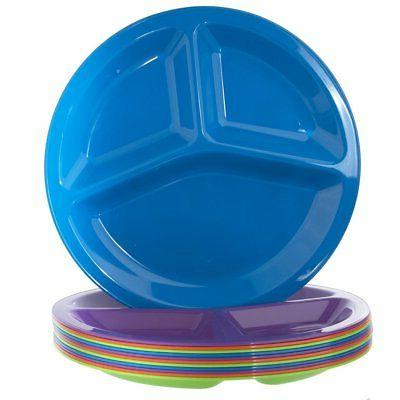 "Unbreakable Plates Rainbow Set 10"" Divided"