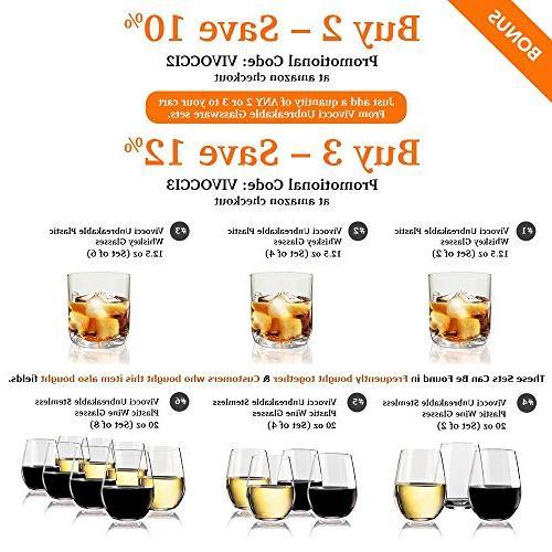 Vivocci Unbreakable Rocks 12.5 & Glasses Thumb Base Bourbon Scotch Perfect Homes Bars Barware | Set of 2