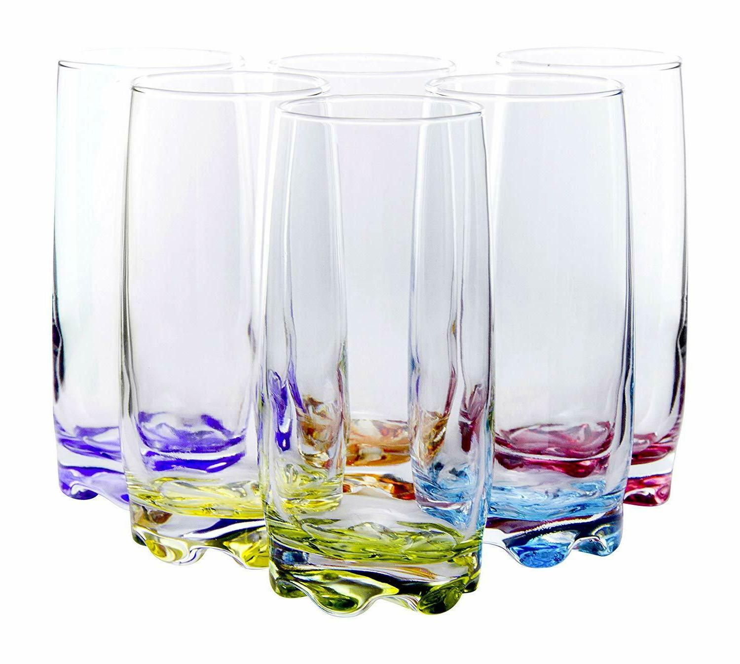 Vibrant Water/Beverage Highball Glasses, 13.25 Set