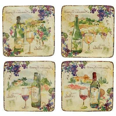 Certified International Vino Canape Plates Set of 4 Assorted