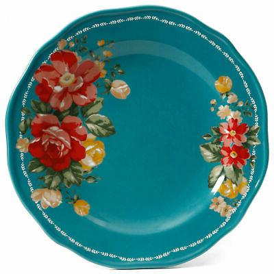 The Pioneer Floral Dinnerware Set Plate Teal