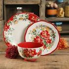 The Pioneer Woman Vintage Floral Red 12-Piece Dinnerware Set