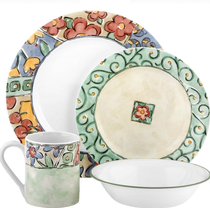 Corelle Watercolors Floral 16-Piece Dinnerware Set Plates Bo