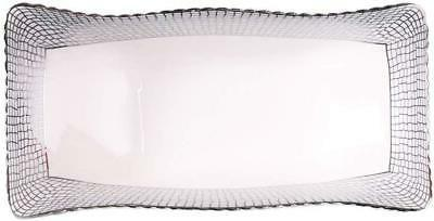 white and silver serving platter fruit tray