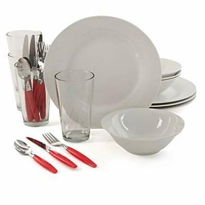 24 Piece Dinnerware Set Service for 4 White Dinner Plates Bo
