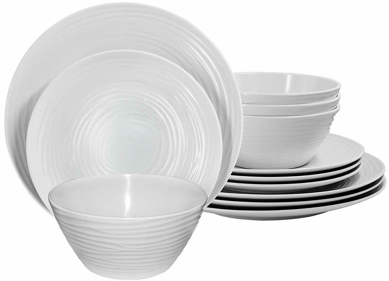 White Home Dinnerware 12-Piece