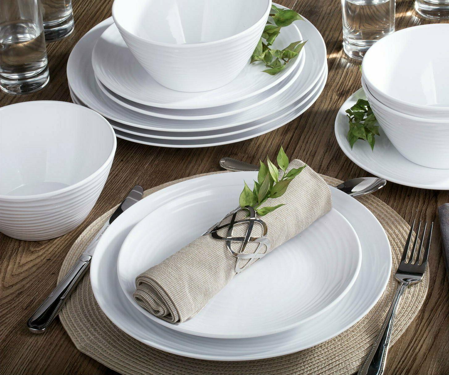 white home dinnerware set 12 piece service