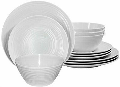 Parhoma White Melamine Home Dinnerware Set, 12-Piece Service