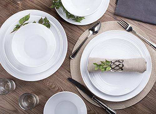 Parhoma White Dinnerware Set, 12-Piece Service