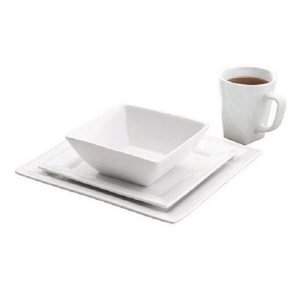 White 16-32 Porcelain Dinnerware Mug Set 6-12 Dinner Plates