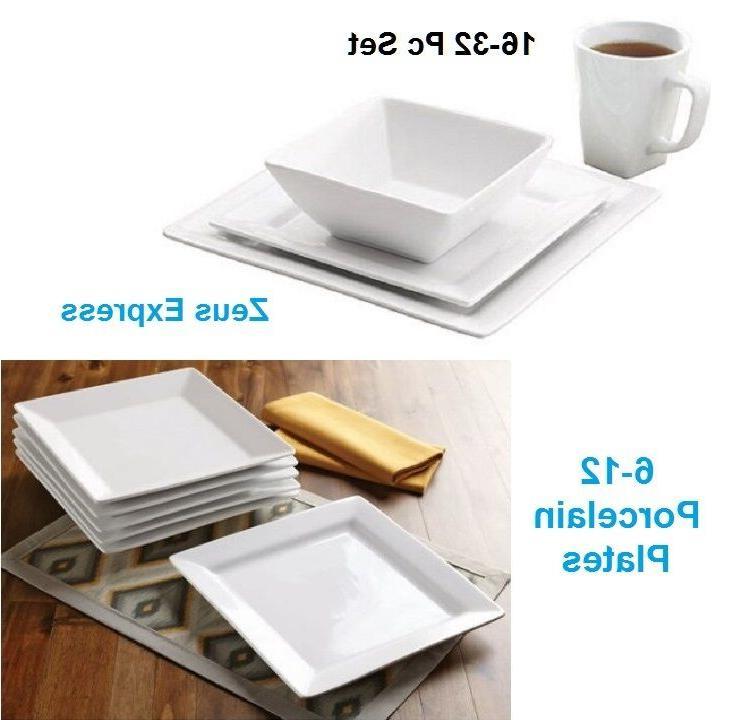 white square 16 32 piece porcelain dinnerware