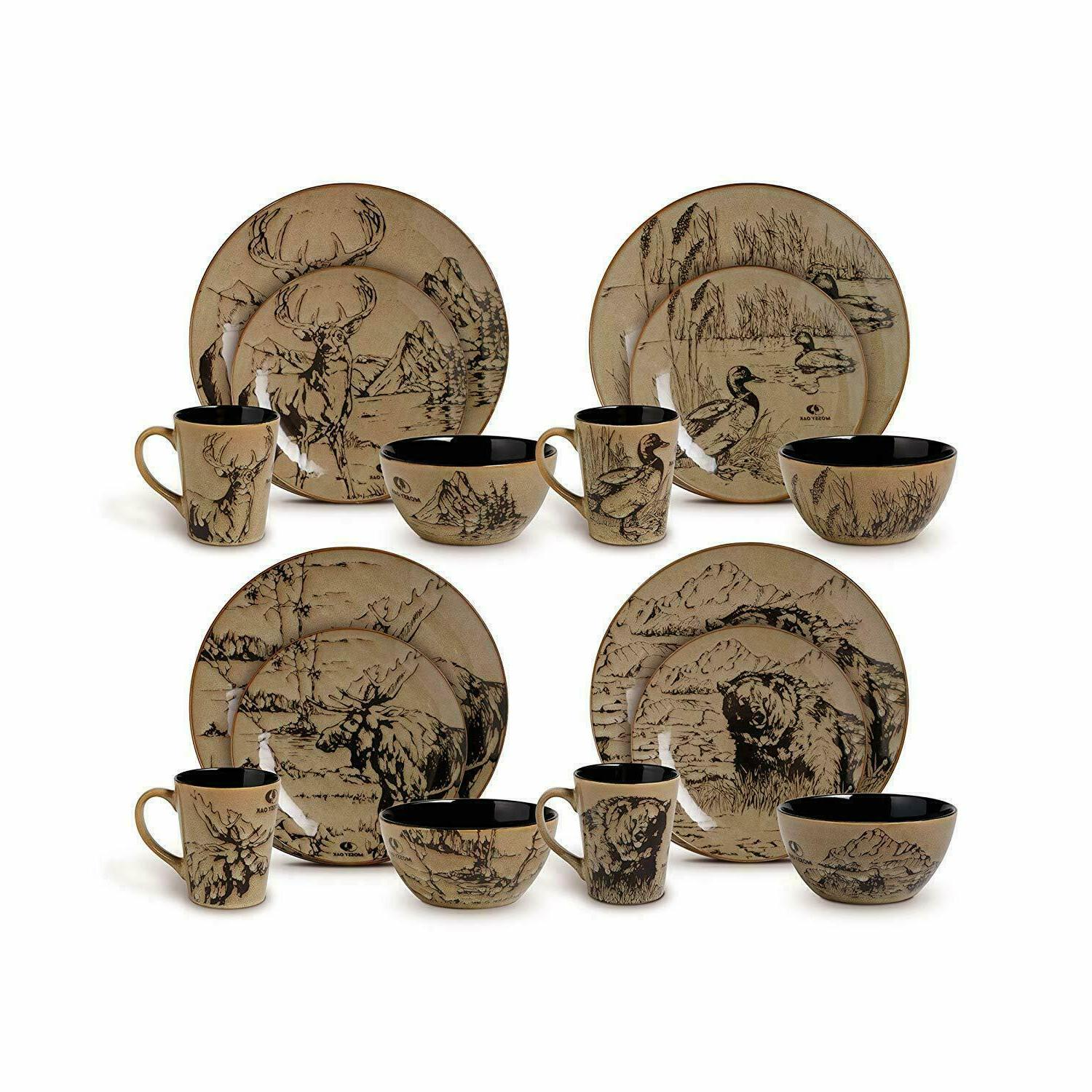 Wildlife Dinnerware Set Dishes Plate Bowl Cup Cabin Bear Duc