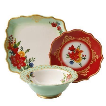 The Pioneer Woman Winter Bouquet 12 Piece Dinnerware Set