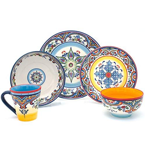 Euro Ceramica Collection Vibrant Safe Service For Spanish Floral Multicolor