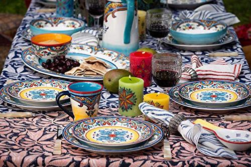 Euro Ceramica Collection Vibrant Safe Dinnerware Set, Service 4, Floral Design,