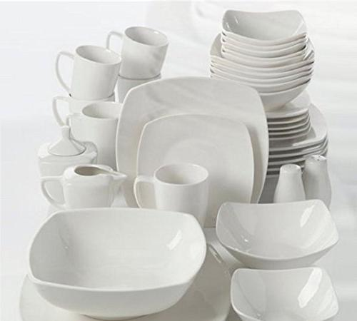 Gibson 39 Piece Porcelain Set Service for with Serveware, White