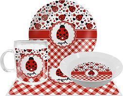 Ladybugs & Gingham Dinner Set - 4 Pc