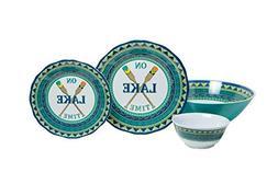 Galleyware On Lake Time 13-Piece Melamine Dinnerware Set, Se