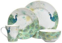 222 Fifth Lakshmi 16 Piece Porcelain Dinnerware Set with Rou