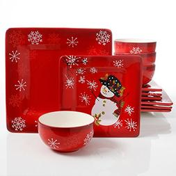 Laurie Gates Snappy Snowman 12 Piece Dinnerware Set, Red