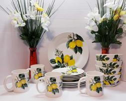 lemon printed ceramic dinnerware set 16 pcs