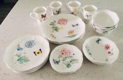 Lenox China Butteryfly Meadow Dinnerware Set 24 Pieces New