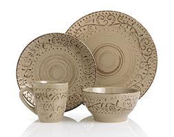 Lorren Home Trends LH431P 16 Piece Round Stoneware Distresse