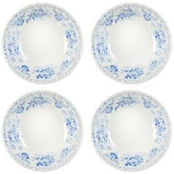 Queen's Light Blue Floral Ceramic Soup Bowls, Made in Englan