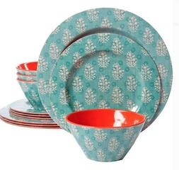 Lightweight Orange Dinnerware Set Aqua 36 Piece Serves 12 Pl