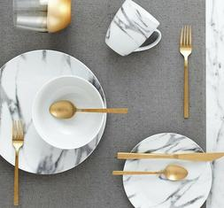 Lighweight 16-Piece Marble pattern Coupe Dinnerware Set Serv