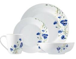 Lighweight 32-Piece Dinnerware Set Blue Floral Service for 8