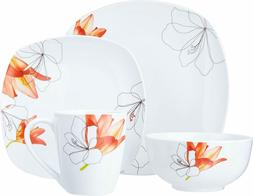 Lily Square 16 Piece Dinnerware Set - Floral Pattern, Cerami