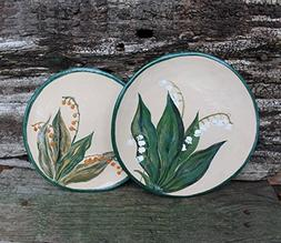 Lily of the valley Ceramic plates set hand built, pottery pl