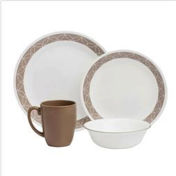 Corelle Livingware 16-Piece Dinnerware Set, Sand Sketch, Set