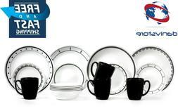 Corelle 1131599 Livingware Black and White 16-Piece Dinnerwa