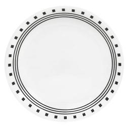 Corelle Livingware Black/White Glass City Block Luncheon Pla