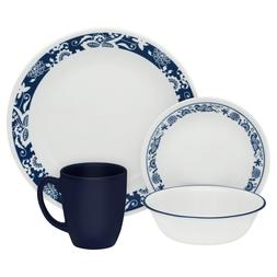 Corelle 3567 Livingware True Blue 16-pc Dinnerware Set, Whit
