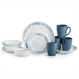 Corelle Livingware Cornflower 16-Piece Dinnerware Set Stonew
